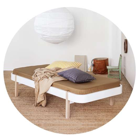 Wood Lounger 90 cm vit/ek, Oliver Furniture